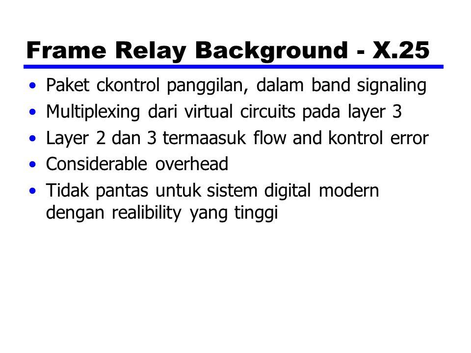 Frame Relay Background - X.25 Paket ckontrol panggilan, dalam band signaling Multiplexing dari virtual circuits pada layer 3 Layer 2 dan 3 termaasuk f