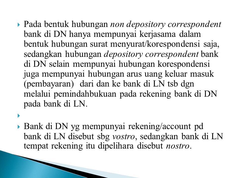  Pada bentuk hubungan non depository correspondent bank di DN hanya mempunyai kerjasama dalam bentuk hubungan surat menyurat/korespondensi saja, seda