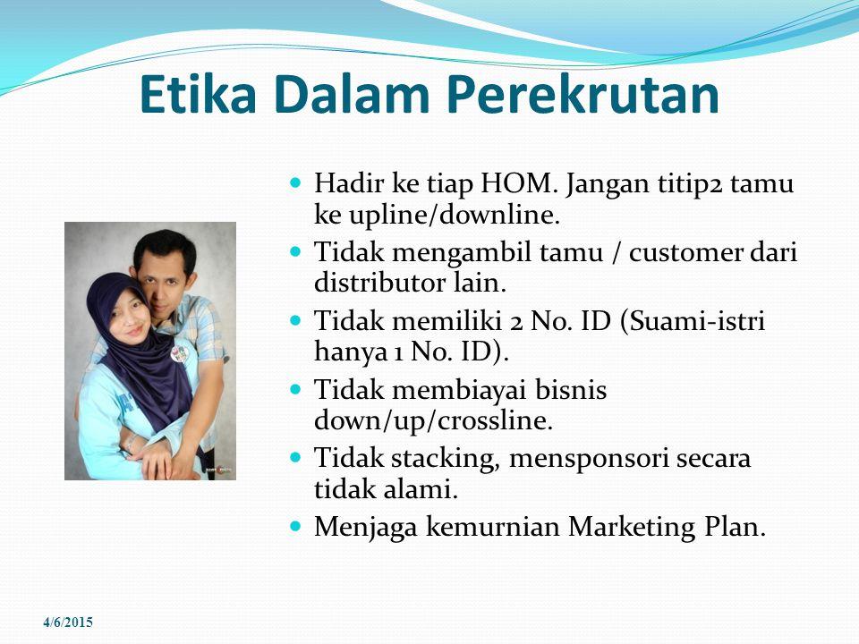 Etika Dalam Perekrutan Hadir ke tiap HOM. Jangan titip2 tamu ke upline/downline. Tidak mengambil tamu / customer dari distributor lain. Tidak memiliki