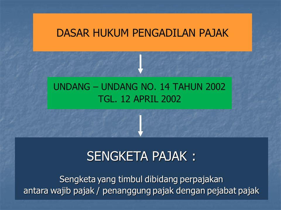 DASAR HUKUM PENGADILAN PAJAK UNDANG – UNDANG NO. 14 TAHUN 2002 TGL. 12 APRIL 2002 SENGKETA PAJAK : Sengketa yang timbul dibidang perpajakan antara waj