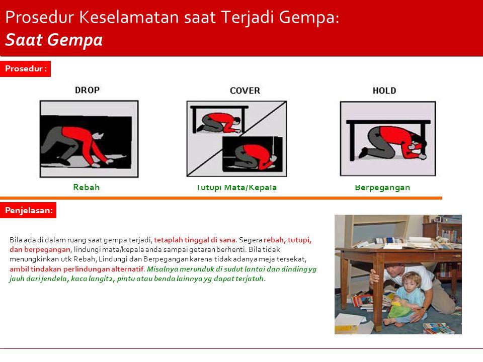 Prosedur Keselamatan saat Terjadi Gempa: Saat Gempa RebahTutupi Mata/KepalaBerpegangan Bila ada di dalam ruang saat gempa terjadi, tetaplah tinggal di sana.