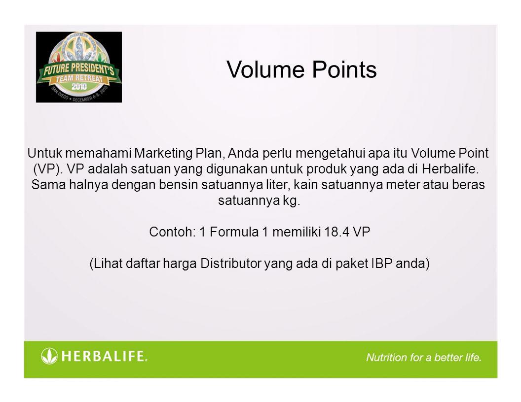 Volume Points Untuk memahami Marketing Plan, Anda perlu mengetahui apa itu Volume Point (VP). VP adalah satuan yang digunakan untuk produk yang ada di