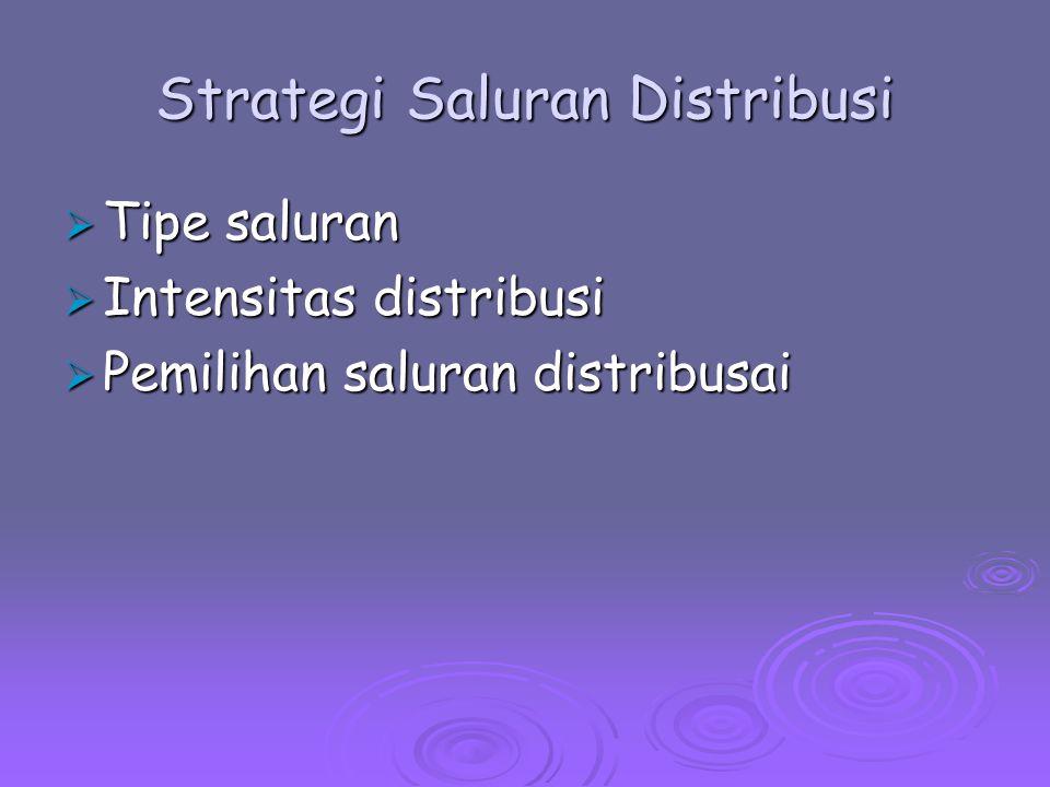 Strategi Saluran Distribusi  Tipe saluran  Intensitas distribusi  Pemilihan saluran distribusai
