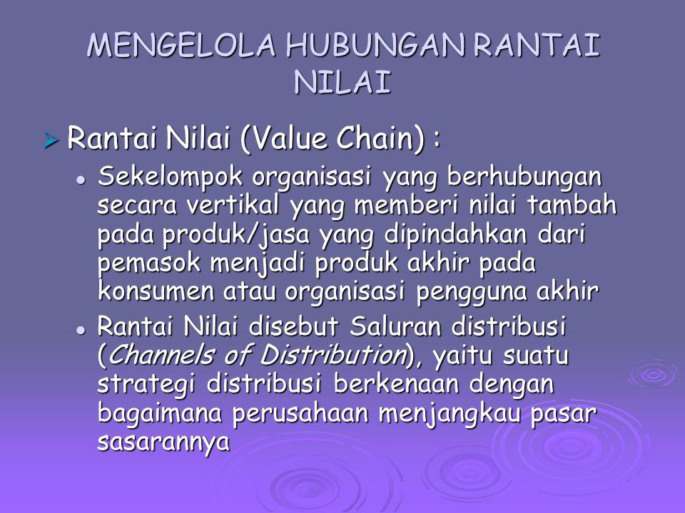 MENGELOLA HUBUNGAN RANTAI NILAI  Rantai Nilai (Value Chain) : Sekelompok organisasi yang berhubungan secara vertikal yang memberi nilai tambah pada p