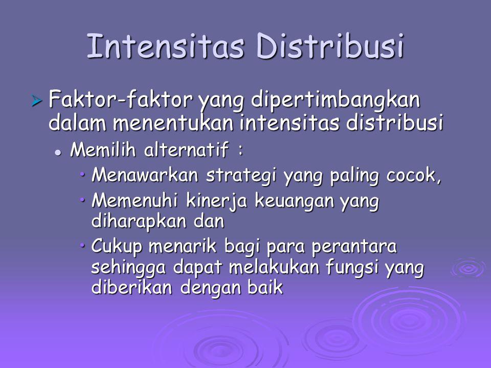 Intensitas Distribusi  Faktor-faktor yang dipertimbangkan dalam menentukan intensitas distribusi Memilih alternatif : Memilih alternatif : Menawarkan
