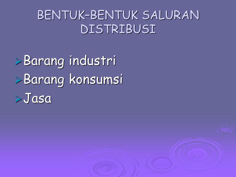 Industrial distributors Manufacturer Consumer Manufacturer's representative Manufacturer's sales branch Saluran Pemasaran Barang Industri