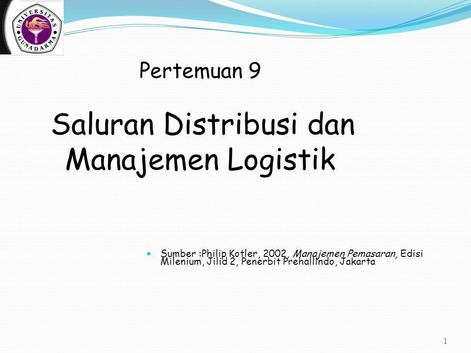 1 Pertemuan 9 Saluran Distribusi dan Manajemen Logistik Sumber :Philip Kotler, 2002, Manajemen Pemasaran, Edisi Milenium, Jilid 2, Penerbit Prehallindo, Jakarta