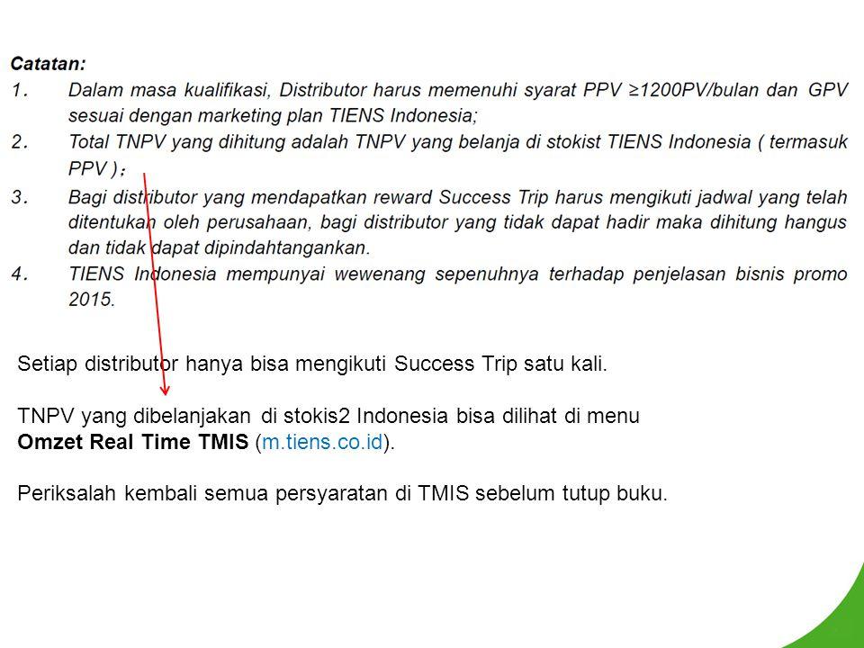 Setiap distributor hanya bisa mengikuti Success Trip satu kali. TNPV yang dibelanjakan di stokis2 Indonesia bisa dilihat di menu Omzet Real Time TMIS
