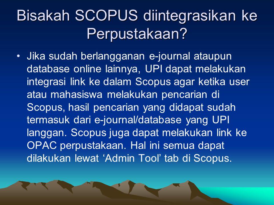 Bisakah SCOPUS diintegrasikan ke Perpustakaan.