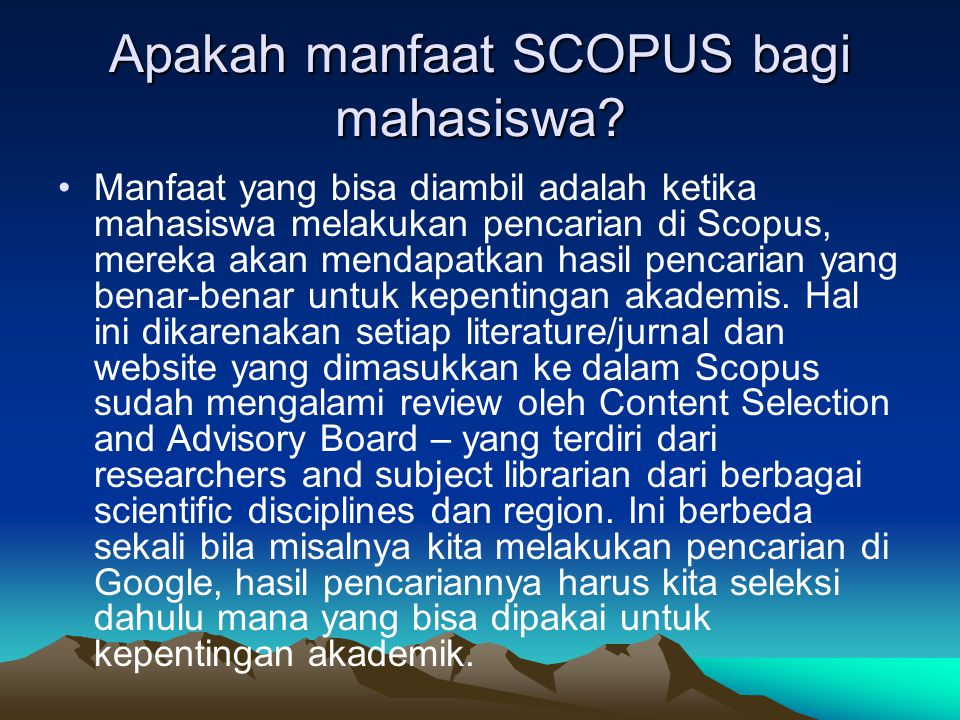 Apakah manfaat SCOPUS bagi mahasiswa.