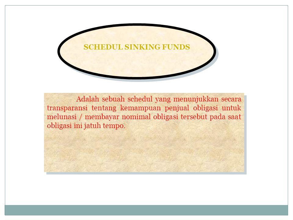 SCHEDUL SINKING FUNDS Adalah sebuah schedul yang menunjukkan secara transparansi tentang kemampuan penjual obligasi untuk melunasi / membayar nomimal