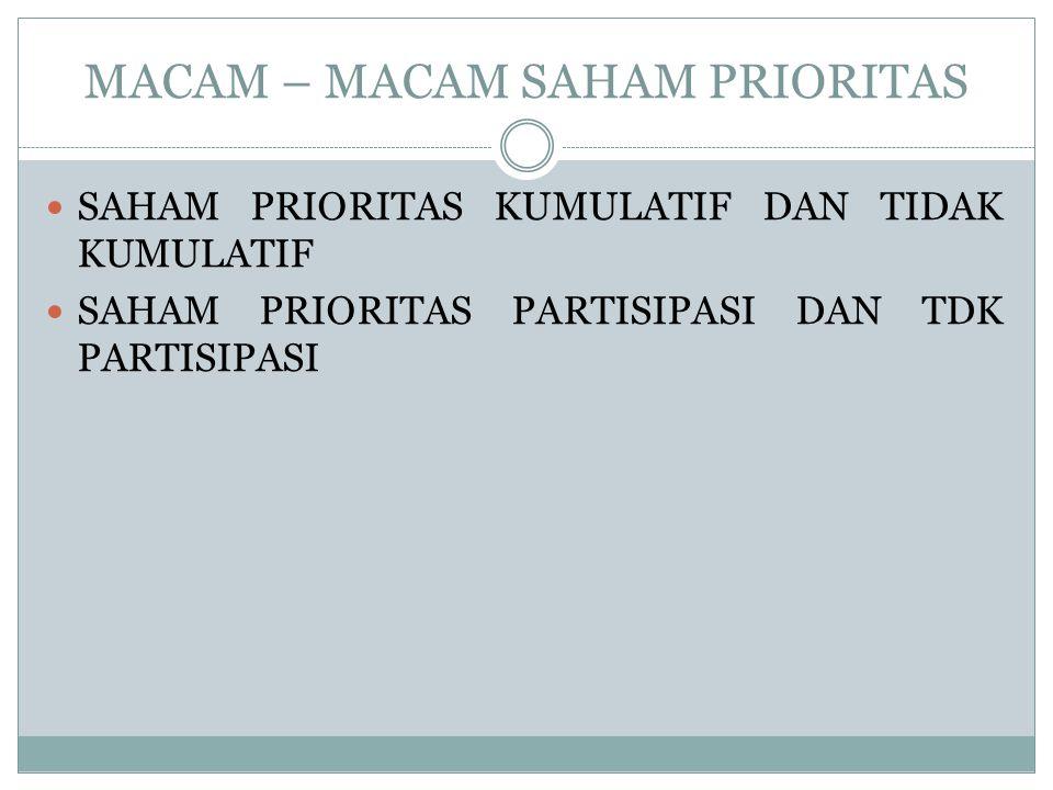 MACAM – MACAM SAHAM PRIORITAS SAHAM PRIORITAS KUMULATIF DAN TIDAK KUMULATIF SAHAM PRIORITAS PARTISIPASI DAN TDK PARTISIPASI