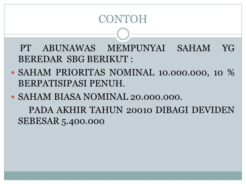 CONTOH PT ABUNAWAS MEMPUNYAI SAHAM YG BEREDAR SBG BERIKUT : SAHAM PRIORITAS NOMINAL 10.000.000, 10 % BERPATISIPASI PENUH. SAHAM BIASA NOMINAL 20.000.0