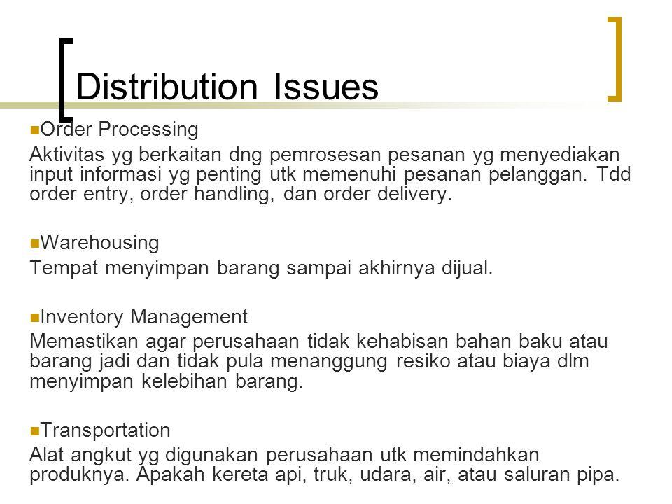 Distribution Issues Order Processing Aktivitas yg berkaitan dng pemrosesan pesanan yg menyediakan input informasi yg penting utk memenuhi pesanan pela