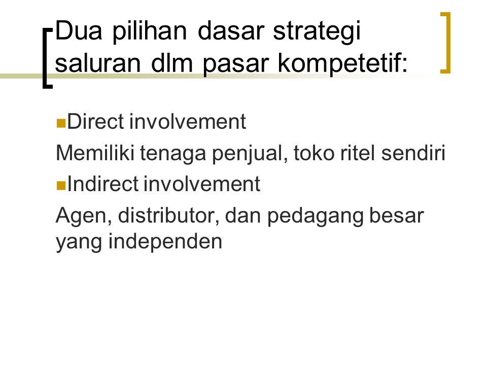 Dua pilihan dasar strategi saluran dlm pasar kompetetif: Direct involvement Memiliki tenaga penjual, toko ritel sendiri Indirect involvement Agen, dis