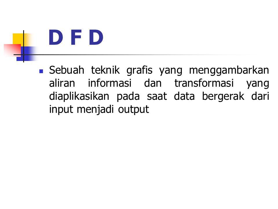 D F D Sebuah teknik grafis yang menggambarkan aliran informasi dan transformasi yang diaplikasikan pada saat data bergerak dari input menjadi output