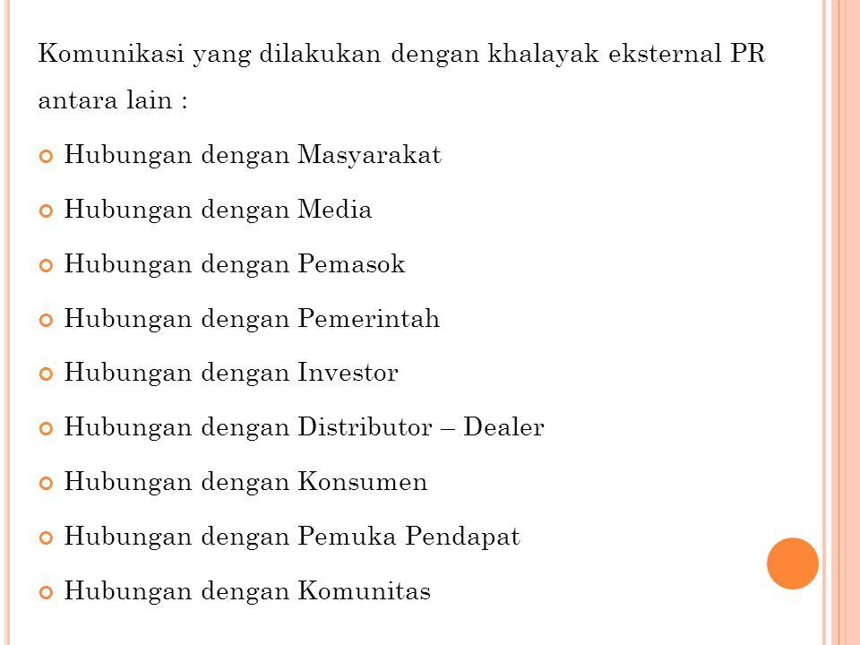 Komunikasi yang dilakukan dengan khalayak eksternal PR antara lain : Hubungan dengan Masyarakat Hubungan dengan Media Hubungan dengan Pemasok Hubungan