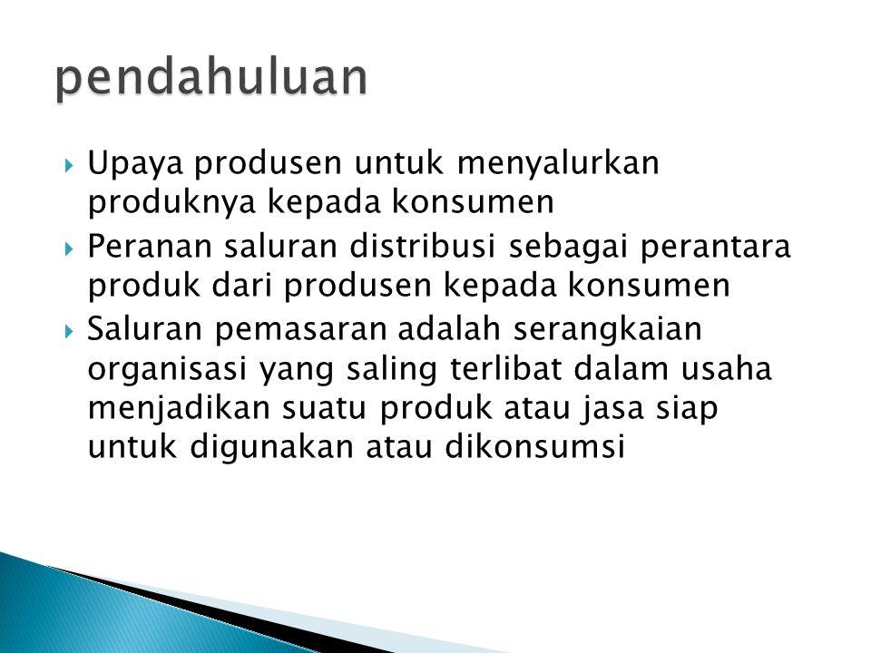  Upaya produsen untuk menyalurkan produknya kepada konsumen  Peranan saluran distribusi sebagai perantara produk dari produsen kepada konsumen  Sal
