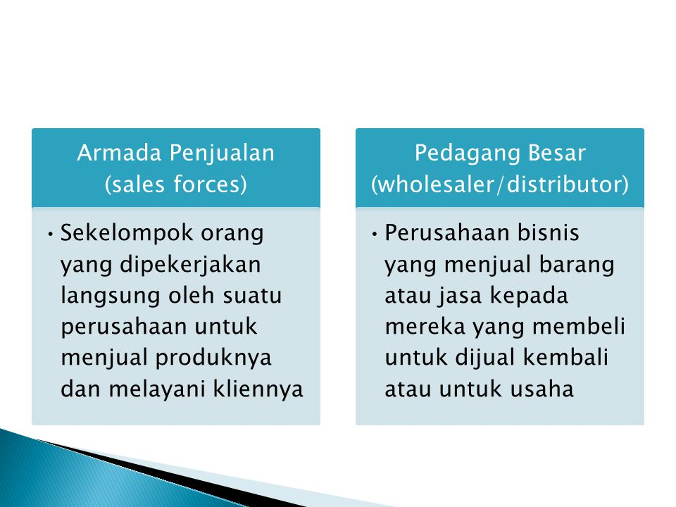 Armada Penjualan (sales forces) Sekelompok orang yang dipekerjakan langsung oleh suatu perusahaan untuk menjual produknya dan melayani kliennya Pedaga