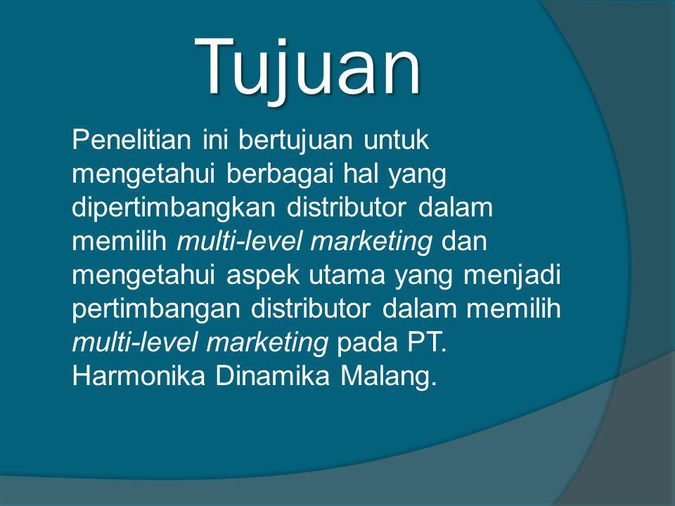 Tujuan Penelitian ini bertujuan untuk mengetahui berbagai hal yang dipertimbangkan distributor dalam memilih multi-level marketing dan mengetahui aspek utama yang menjadi pertimbangan distributor dalam memilih multi-level marketing pada PT.