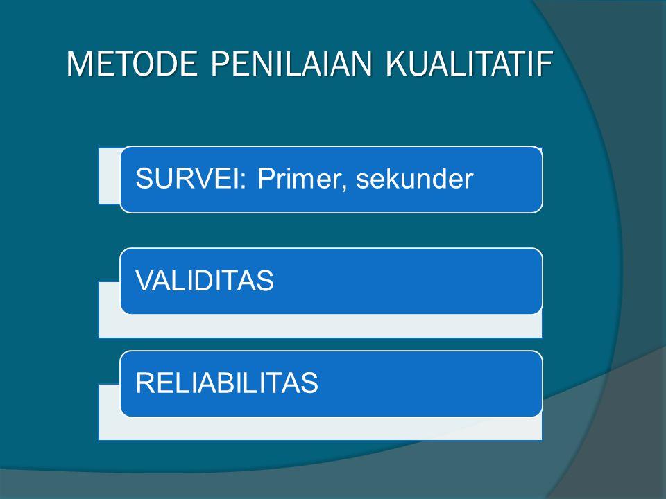 METODE PENILAIAN KUALITATIF METODE PENILAIAN KUALITATIF SURVEI: Primer, sekunderVALIDITASRELIABILITAS