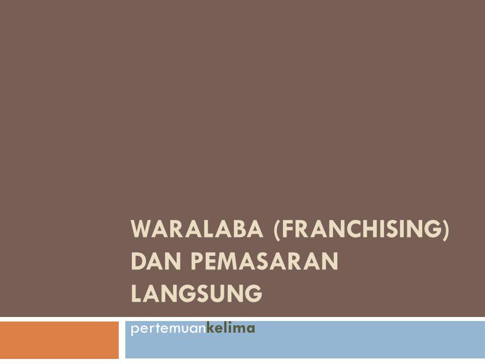 Pengertian Franchise (Waralaba)  peluang bagi wiraswastawan untuk masuk dalam usaha dengan memanfaatkan pengalaman, pengetahuan, dan dukungan dari pemberi franchise.