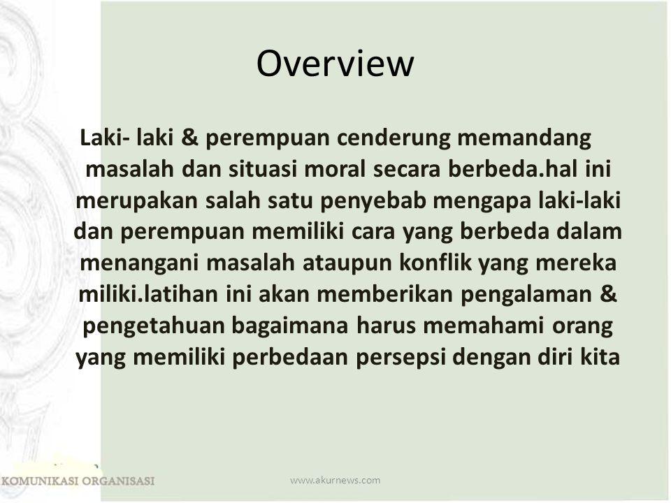 Overview Laki- laki & perempuan cenderung memandang masalah dan situasi moral secara berbeda.hal ini merupakan salah satu penyebab mengapa laki-laki d
