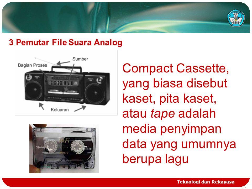 Teknologi dan Rekayasa 3 Pemutar File Suara Analog Compact Cassette, yang biasa disebut kaset, pita kaset, atau tape adalah media penyimpan data yang