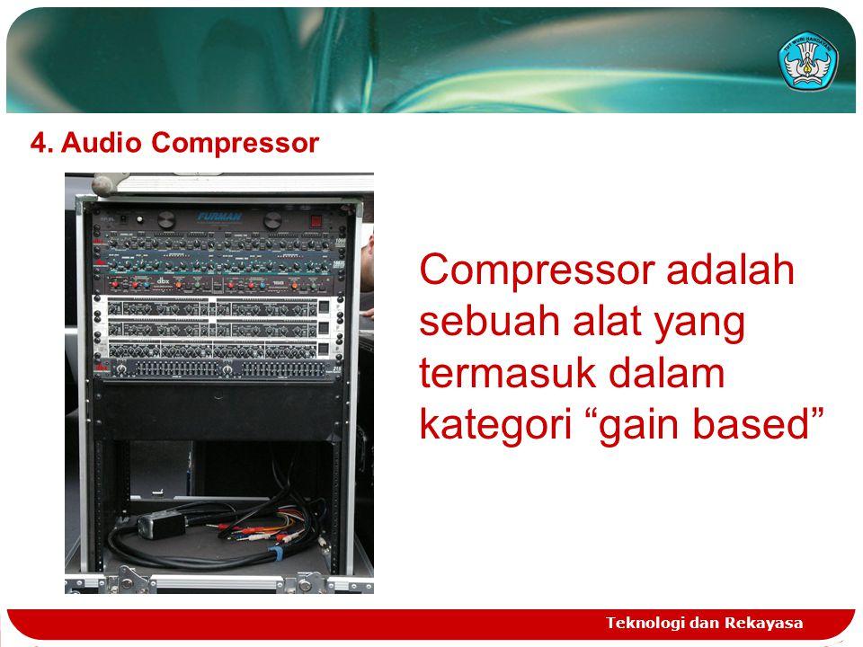"""Teknologi dan Rekayasa 4. Audio Compressor Compressor adalah sebuah alat yang termasuk dalam kategori """"gain based"""""""