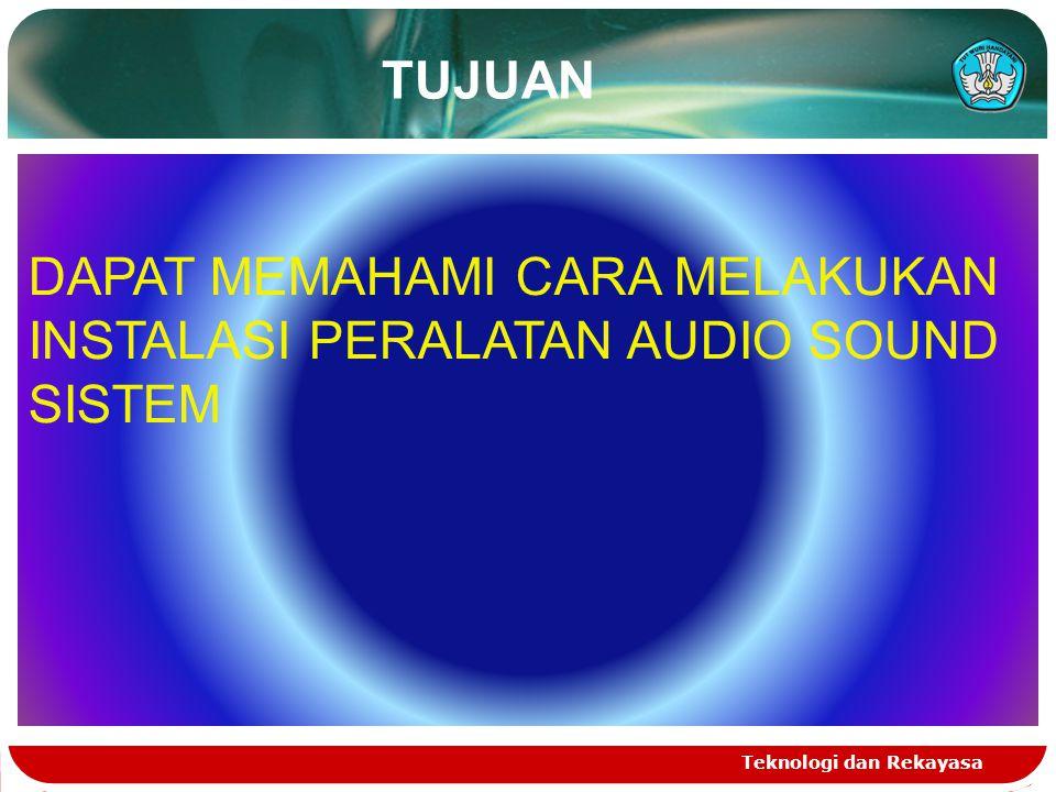 TUJUAN Teknologi dan Rekayasa DAPAT MEMAHAMI CARA MELAKUKAN INSTALASI PERALATAN AUDIO SOUND SISTEM