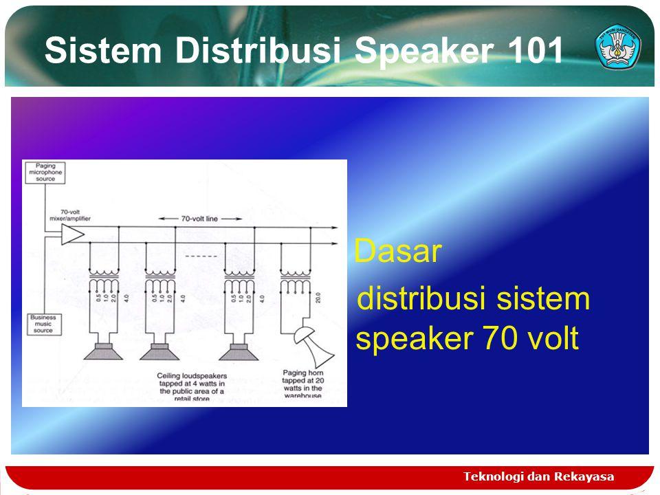 Sistem Distribusi Speaker 101 Teknologi dan Rekayasa Dasar distribusi sistem speaker 70 volt