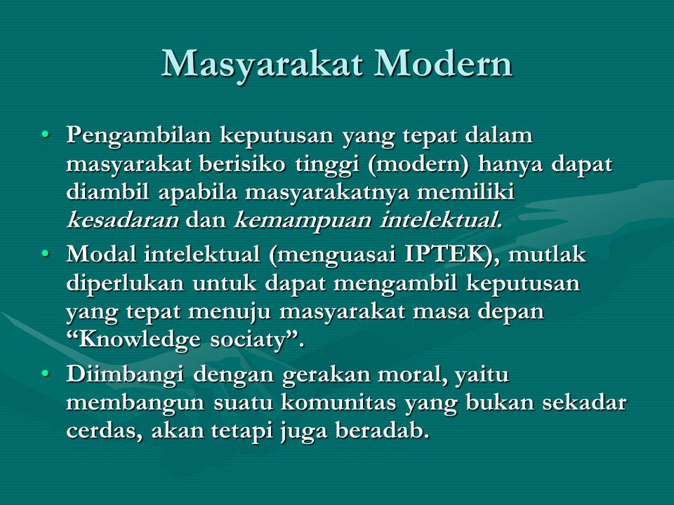 Masyarakat Modern Pengambilan keputusan yang tepat dalam masyarakat berisiko tinggi (modern) hanya dapat diambil apabila masyarakatnya memiliki kesada
