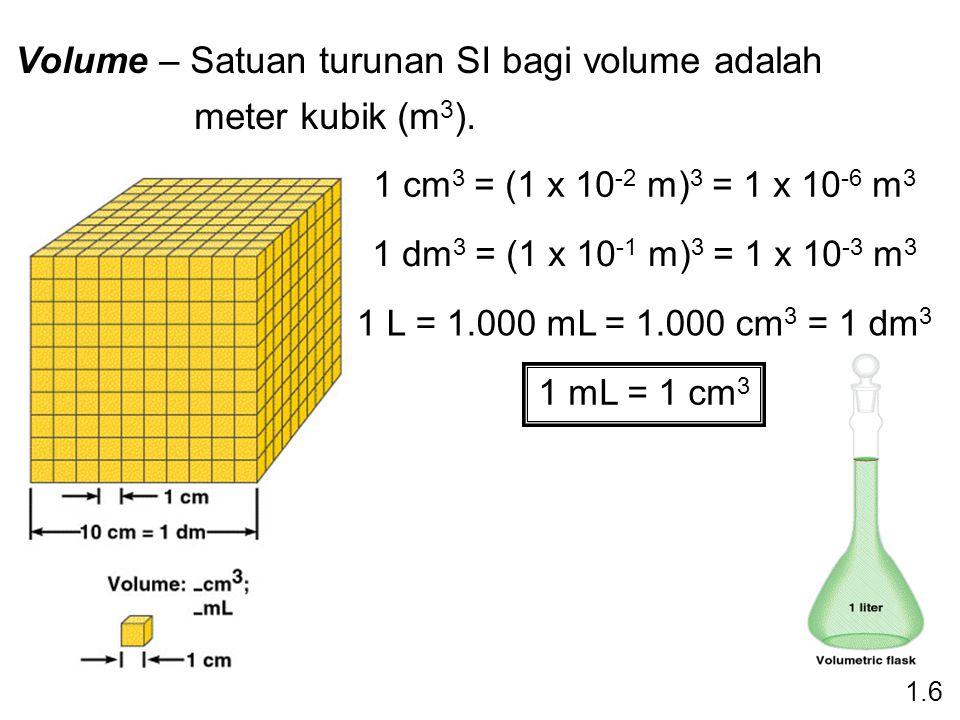 Volume – Satuan turunan SI bagi volume adalah meter kubik (m 3 ).
