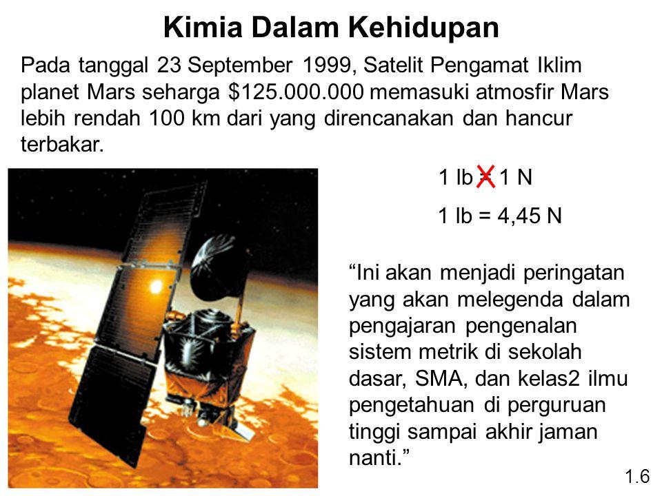 Kimia Dalam Kehidupan Pada tanggal 23 September 1999, Satelit Pengamat Iklim planet Mars seharga $125.000.000 memasuki atmosfir Mars lebih rendah 100 km dari yang direncanakan dan hancur terbakar.