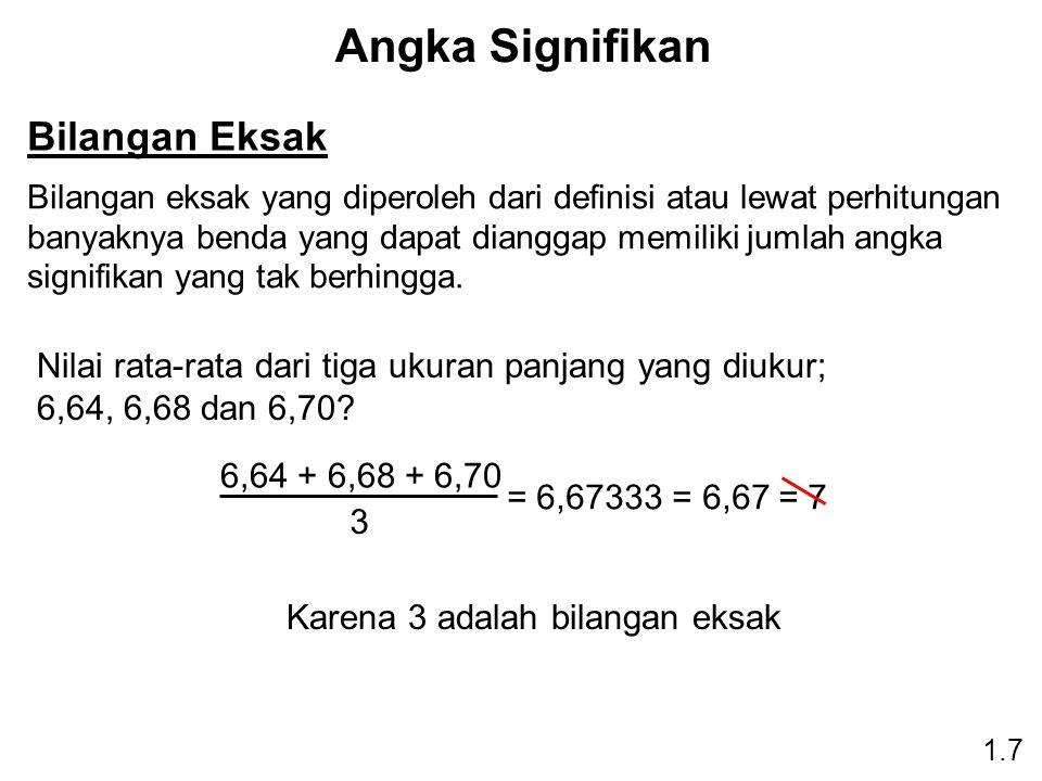 Angka Signifikan 1.7 Bilangan Eksak Bilangan eksak yang diperoleh dari definisi atau lewat perhitungan banyaknya benda yang dapat dianggap memiliki jumlah angka signifikan yang tak berhingga.