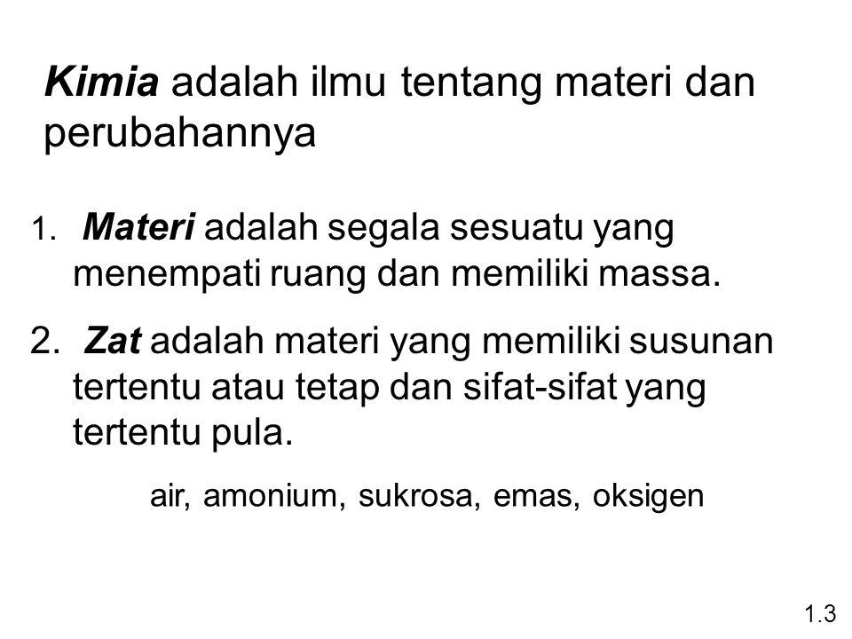 1.Materi adalah segala sesuatu yang menempati ruang dan memiliki massa.