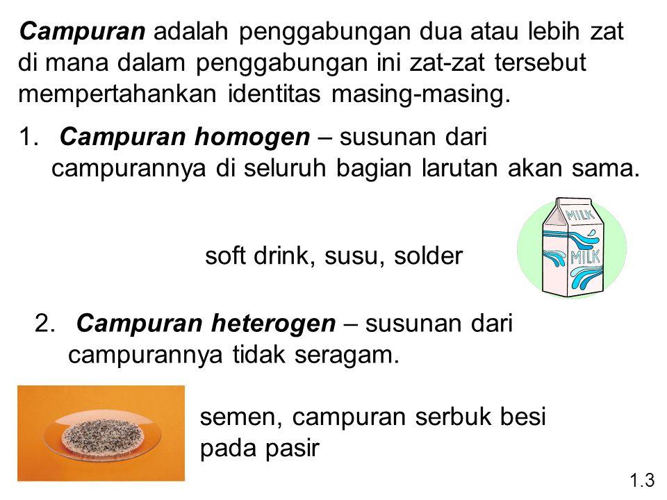 Campuran adalah penggabungan dua atau lebih zat di mana dalam penggabungan ini zat-zat tersebut mempertahankan identitas masing-masing.