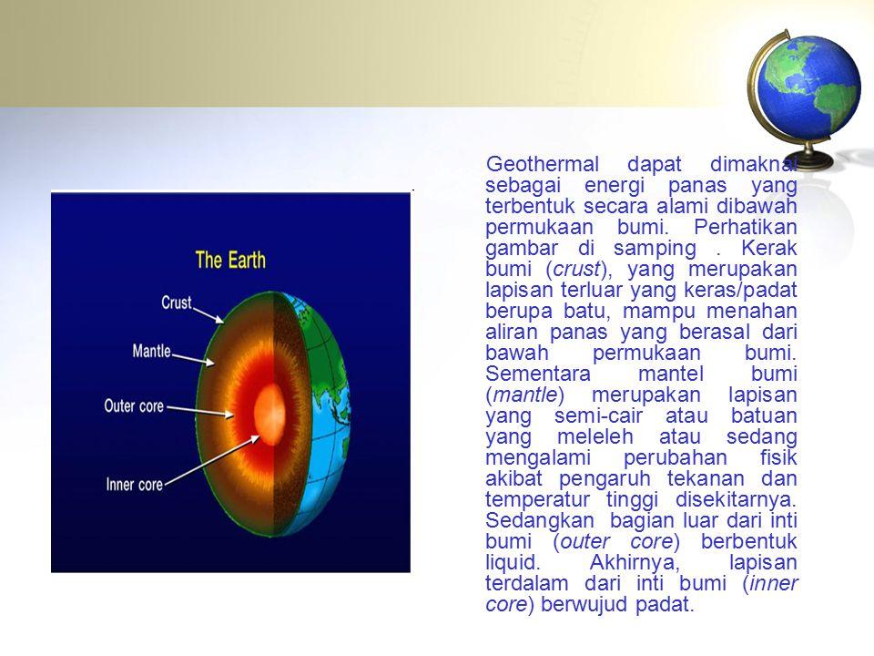 Geothermal dapat dimaknai sebagai energi panas yang terbentuk secara alami dibawah permukaan bumi. Perhatikan gambar di samping. Kerak bumi (crust), y