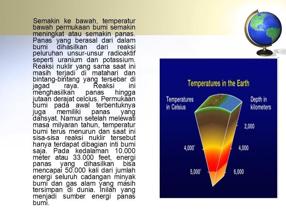 Semakin ke bawah, temperatur bawah permukaan bumi semakin meningkat atau semakin panas. Panas yang berasal dari dalam bumi dihasilkan dari reaksi pelu
