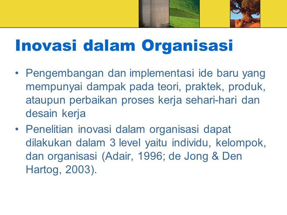 Inovasi dalam Organisasi Pengembangan dan implementasi ide baru yang mempunyai dampak pada teori, praktek, produk, ataupun perbaikan proses kerja seha