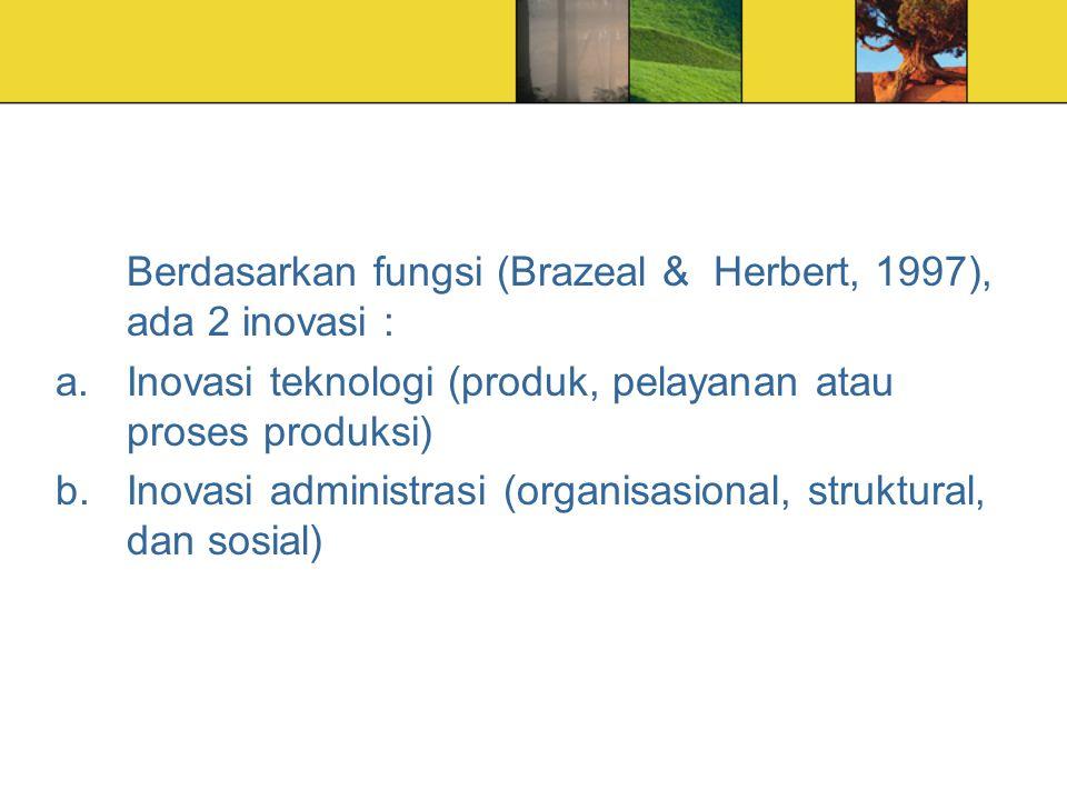 Berdasarkan fungsi (Brazeal & Herbert, 1997), ada 2 inovasi : a.Inovasi teknologi (produk, pelayanan atau proses produksi) b.Inovasi administrasi (org