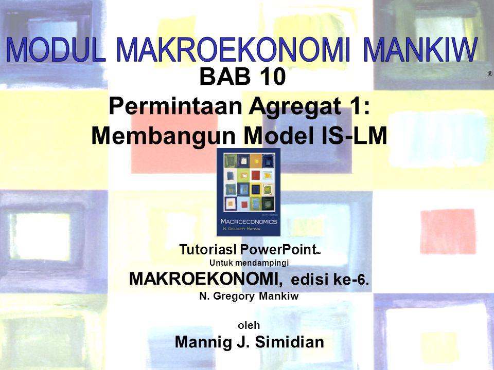 Chapter Ten1 BAB 10 Permintaan Agregat 1: Membangun Model IS-LM ® Tutoriasl PowerPoint  Untuk mendampingi MAKROEKONOMI, edisi ke- 6. N. Gregory Manki