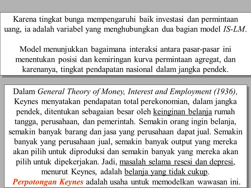 Chapter Ten8 Dalam General Theory of Money, Interest and Employment (1936), Keynes menyatakan pendapatan total perekonomian, dalam jangka pendek, dite