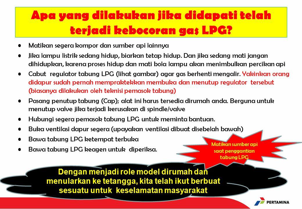 Apa yang dilakukan jika didapati telah terjadi kebocoran gas LPG.