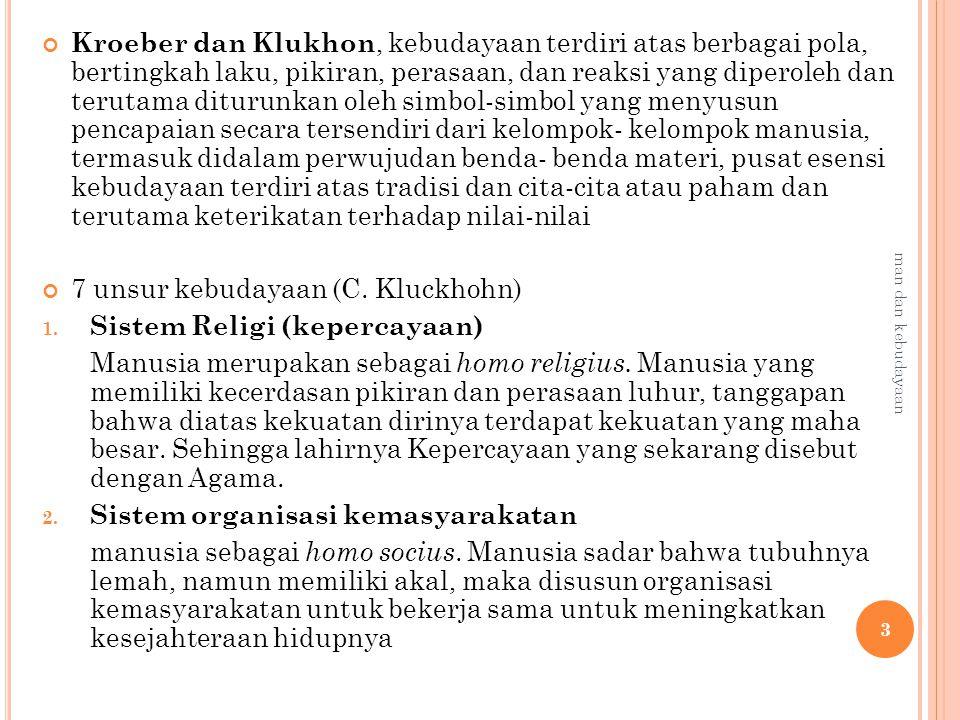 Kroeber dan Klukhon, kebudayaan terdiri atas berbagai pola, bertingkah laku, pikiran, perasaan, dan reaksi yang diperoleh dan terutama diturunkan oleh