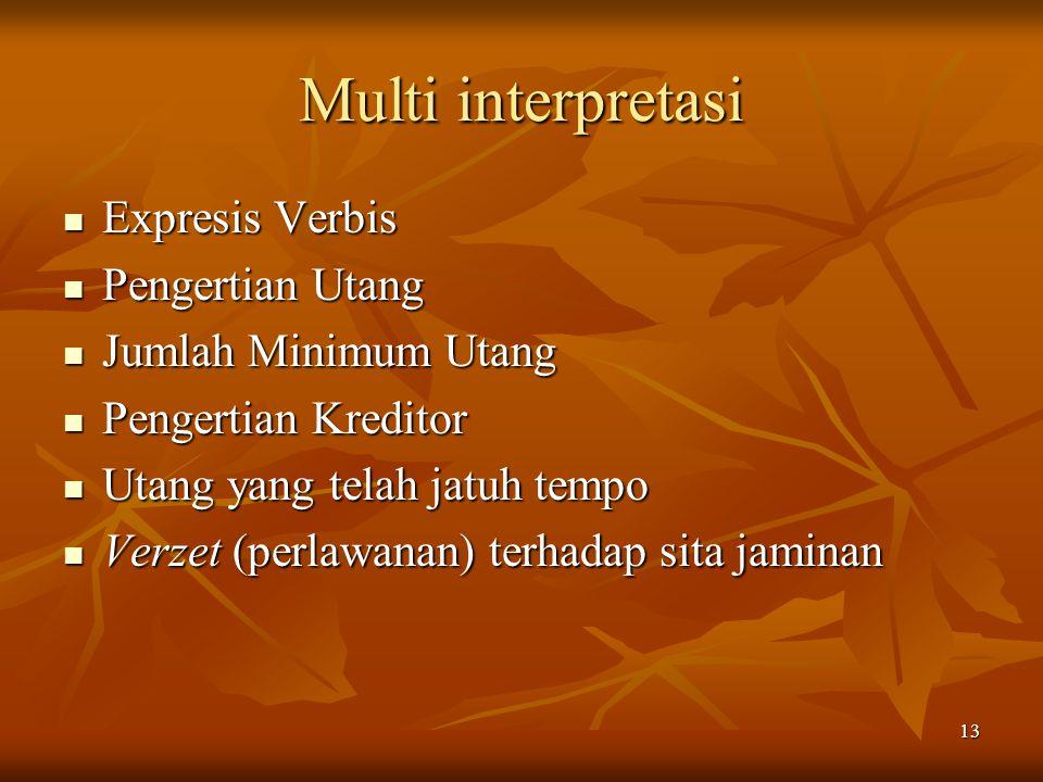 13 Multi interpretasi Expresis Verbis Expresis Verbis Pengertian Utang Pengertian Utang Jumlah Minimum Utang Jumlah Minimum Utang Pengertian Kreditor