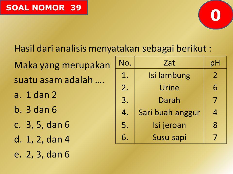 SOAL NOMOR 39 Hasil dari analisis menyatakan sebagai berikut : Maka yang merupakan suatu asam adalah …. a.1 dan 2 b.3 dan 6 c.3, 5, dan 6 d.1, 2, dan