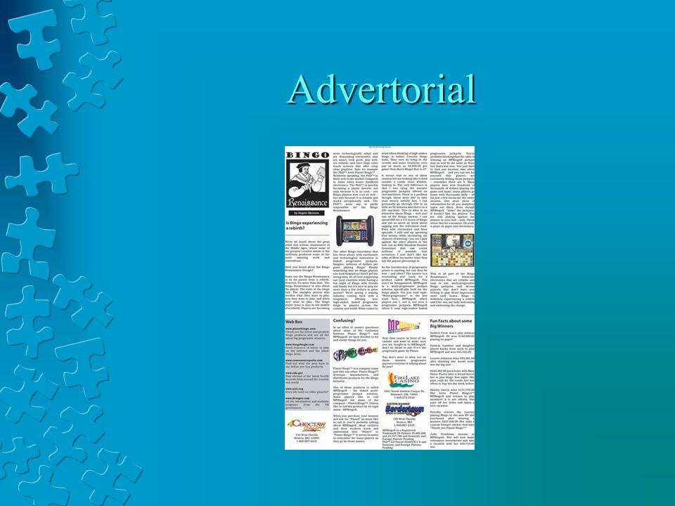 Langkah Menulis Advertorial Langkah 9: Awali dan akhiri tulisan Anda dengan sesuatu yang dahsyat. Langkah 10: Warnai advertorial Anda dengan kutipan-kutipan dari sumber asli seperti pakar Langkah 11: Pecah artikel Anda dalam sub-sub judul.