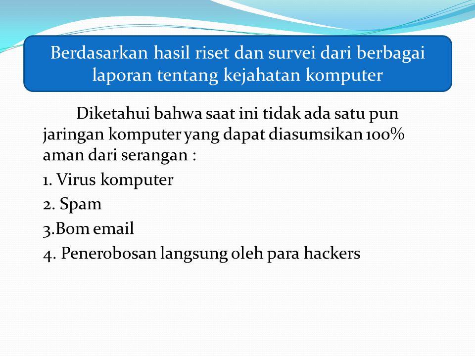 Diketahui bahwa saat ini tidak ada satu pun jaringan komputer yang dapat diasumsikan 100% aman dari serangan : 1. Virus komputer 2. Spam 3.Bom email 4
