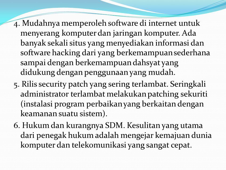 4. Mudahnya memperoleh software di internet untuk menyerang komputer dan jaringan komputer. Ada banyak sekali situs yang menyediakan informasi dan sof